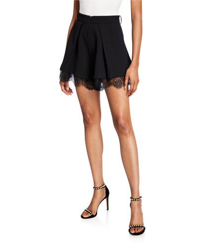 Crepe Pleated Shorts with Lace
