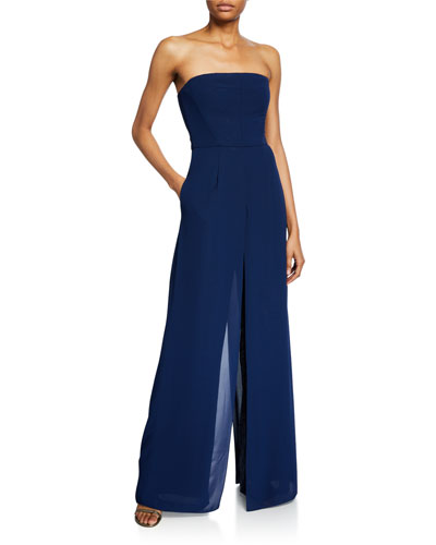 Strapless Georgette Overlay Sequined Jumpsuit