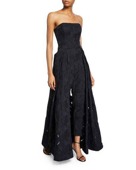 Halston Strapless Jacquard Jumpsuit with Skirt Overlay