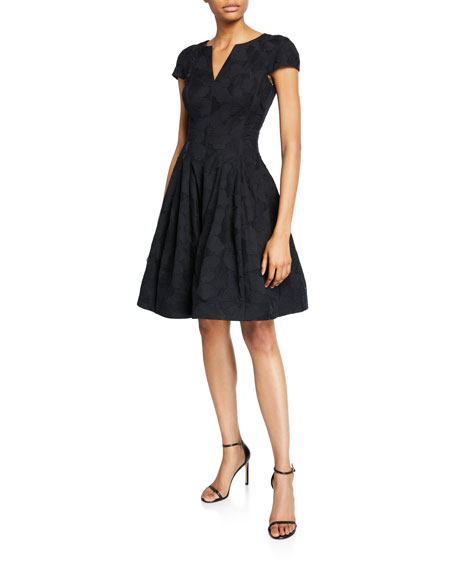 Halston Cap-Sleeve Notch-Neck Jacquard Dress