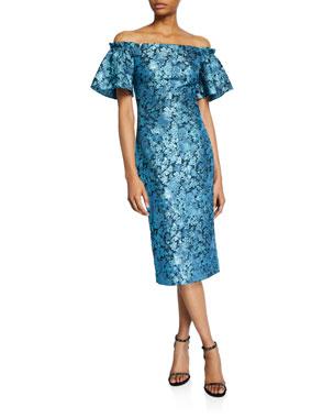 84e05fd1314b Theia Metallic Tissue Faille Off-Shoulder Flare-Sleeve Cocktail Dress