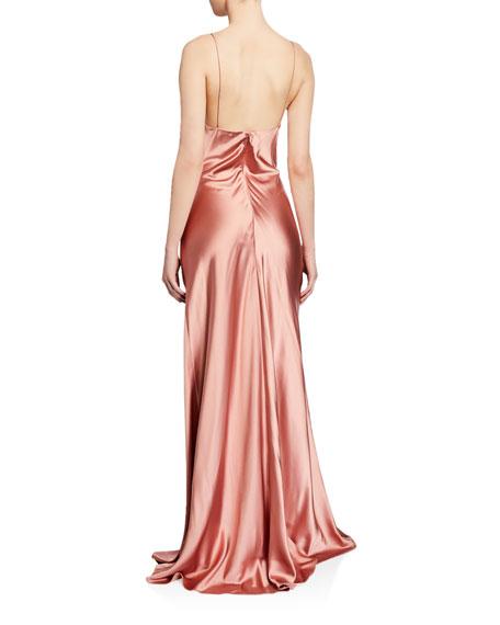 Jonathan Simkhai Crepe Back Satin Cowl-Neck Gown