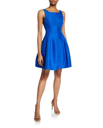 Bateau-Neck Sleeveless Fit-&-Flare Silk Faille Dress