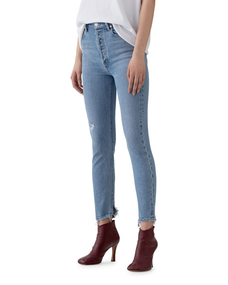 Image 2 of 3: AGOLDE Nico High-Rise Slim Jeans with Shredded Hem