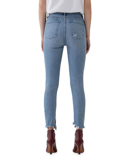 Image 3 of 3: AGOLDE Nico High-Rise Slim Jeans with Shredded Hem
