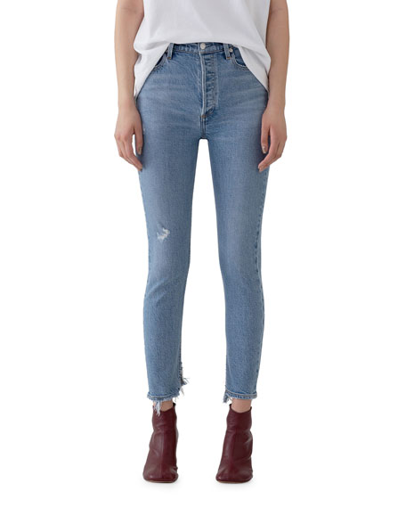 Image 1 of 3: AGOLDE Nico High-Rise Slim Jeans with Shredded Hem
