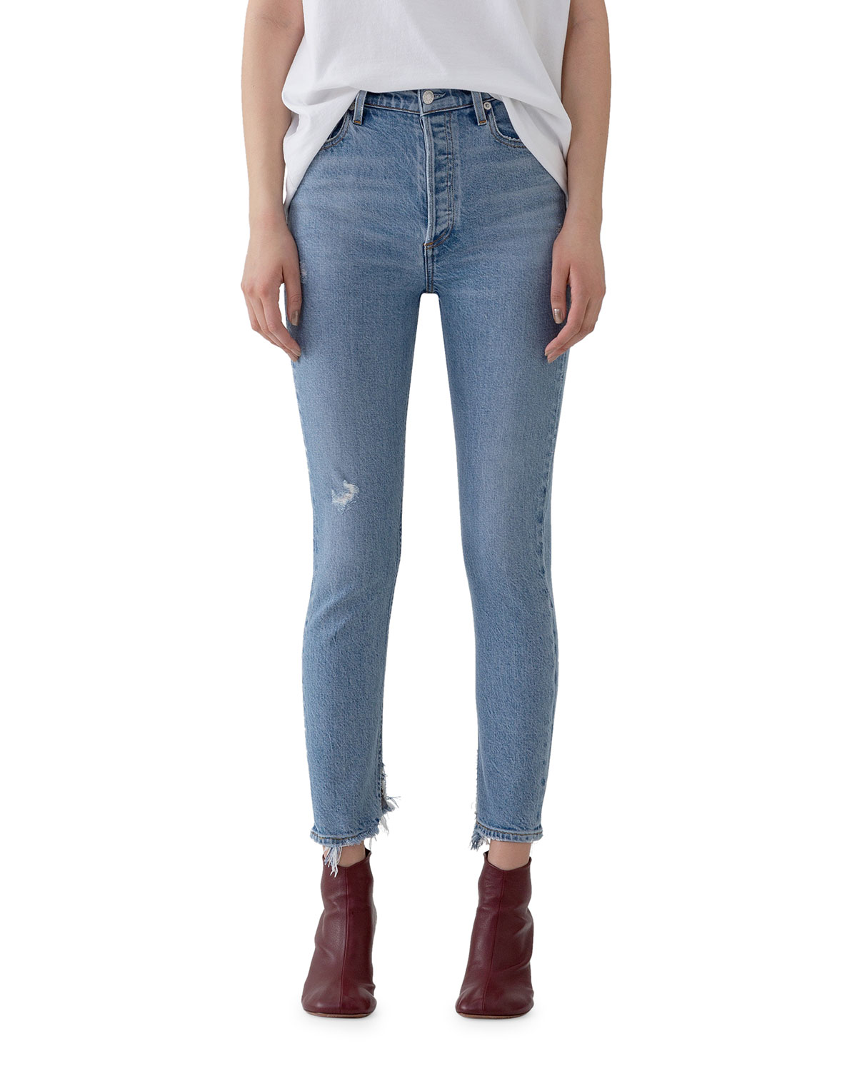 AGOLDE Nico High-Rise Slim Jeans with Shredded Hem