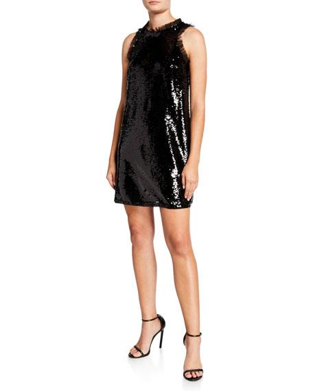 Aidan by Aidan Mattox Sequin Trapeze Sleeveless Short Cocktail Dress