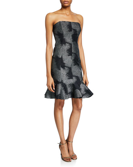 Halston Metallic Abstract Jacquard Strapless Dress