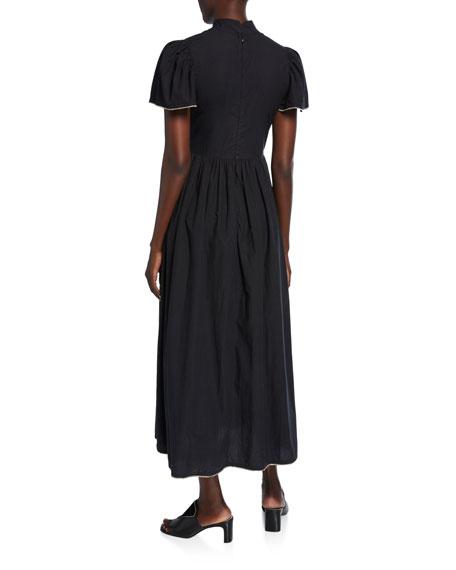 Rhode Heidi High-Neck Midi Dress w/ Metallic Trim
