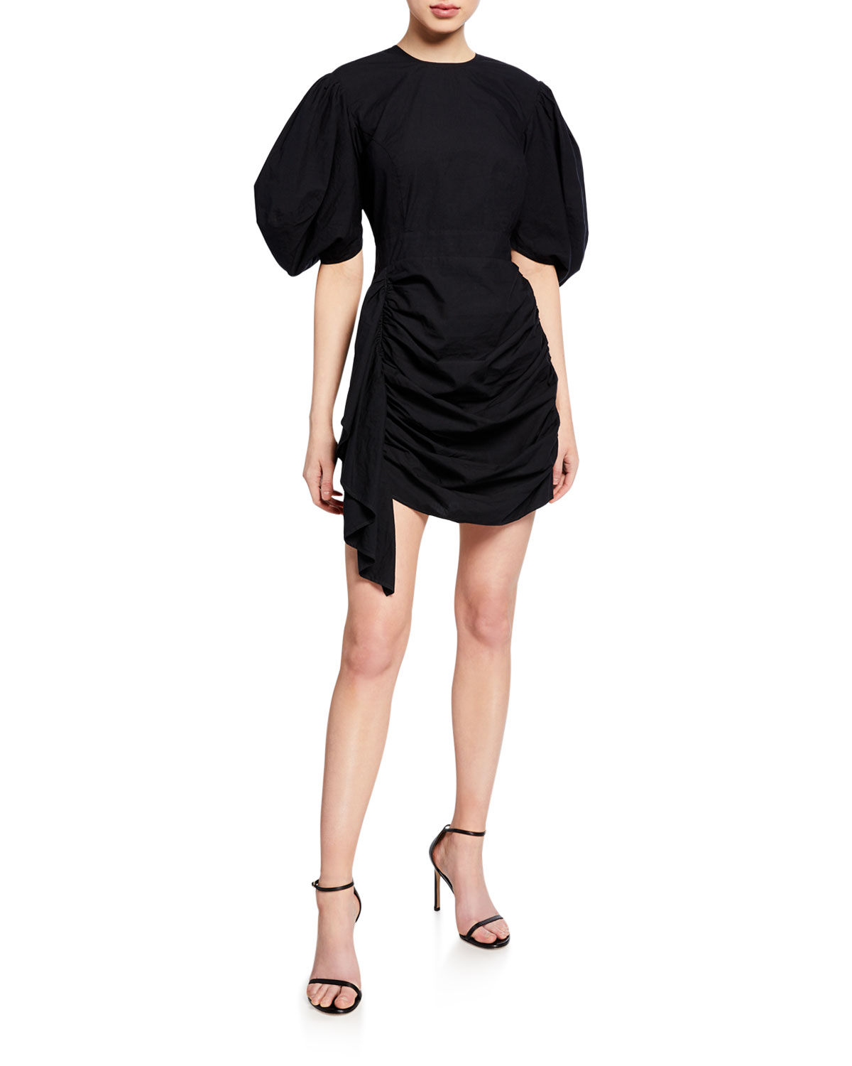 Pia Shirred Cotton Puff Sleeve Short Dress by Rhode