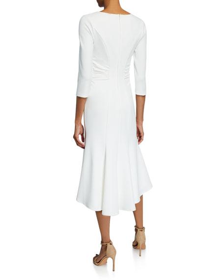Halston Wide V-Neck Ruched Waist High-Low Crepe Dress