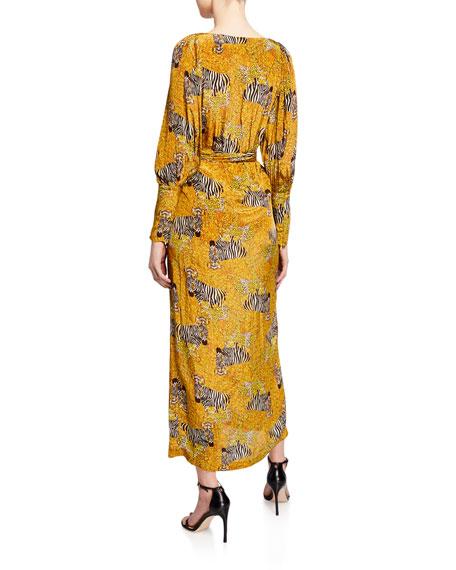 Rhode Aspen Animal-Print Long-Sleeve Wrap Dress