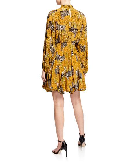 Rhode Caroline High-Neck Animal-Print Flounce Dress