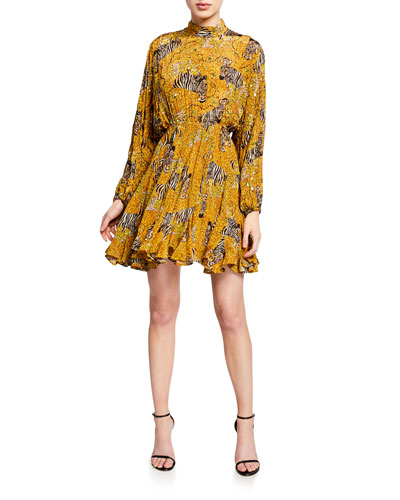 Caroline High-Neck Animal-Print Flounce Dress