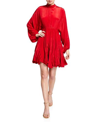 Caroline High-Neck Satin Flounce Dress