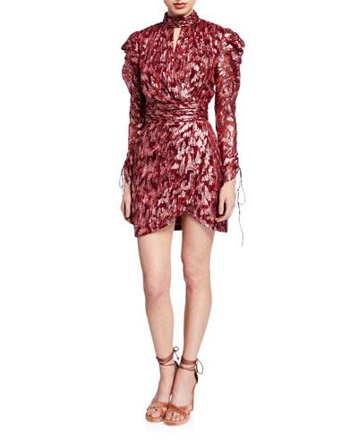 Metallic Vine Jacquard Mock-Neck Wrap Dress