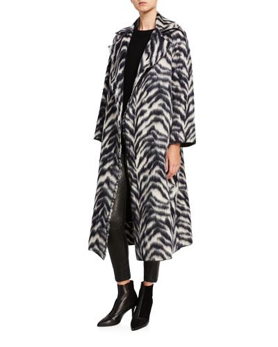Corteccia Wool Jacquard Long Coat