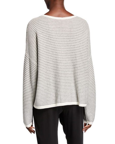 Image 2 of 2: Plus Size Striped Dropped Shoulder Long-Sleeve Sweater