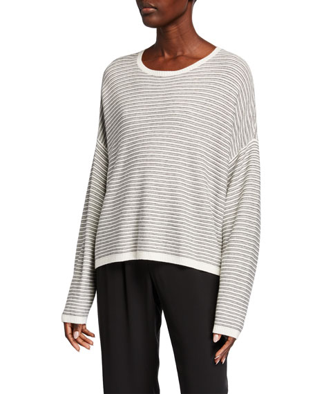 Image 1 of 2: Plus Size Striped Dropped Shoulder Long-Sleeve Sweater