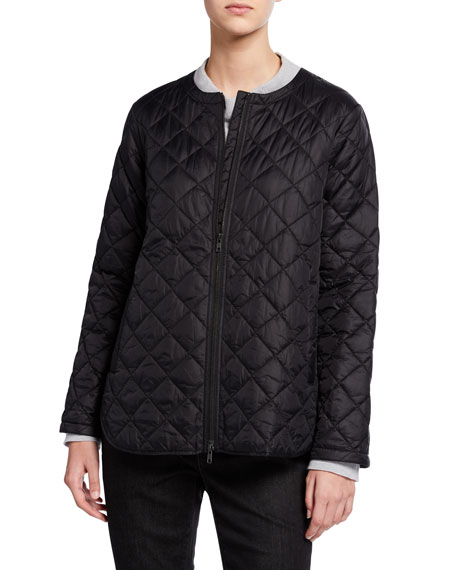 Eileen Fisher Recycled Nylon Diamond Quilted Zip-Front Shirttail Hem Jacket