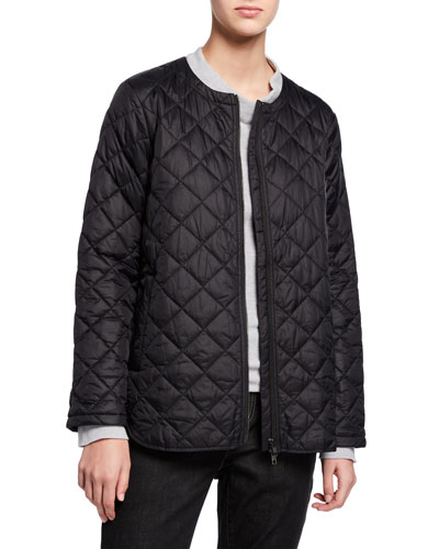 Recycled Nylon Diamond Quilted Zip-Front Shirttail Hem Jacket