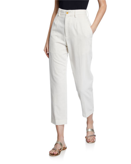 Image 1 of 3: Forte Forte Slub Cotton Ankle Pants