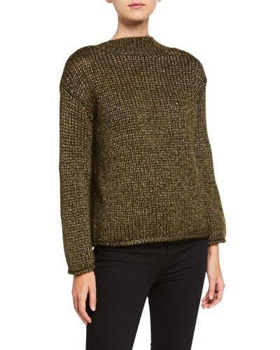 V-Back Metallic Mohair Sweater
