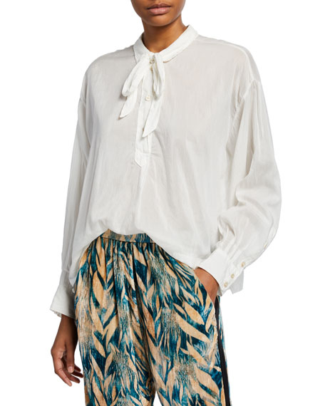 Forte Forte Tie-Neck Voile Long-Sleeve Top
