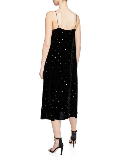 Image 2 of 2: Glitter Velvet V-Neck Slip Dress