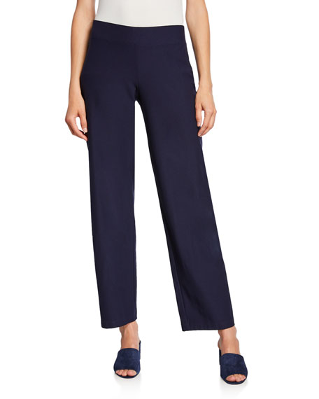 Eileen Fisher Plus Size Straight-Leg Pants with Yoke