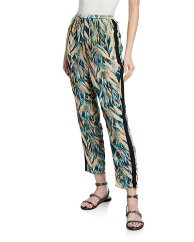 Printed Velvet Pants with Side Stripes
