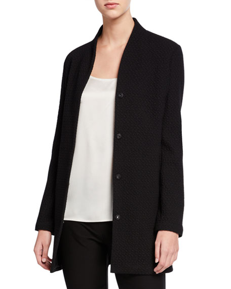 Eileen Fisher Plus Size Chevron Button-Front Long Jacket with High-Collar