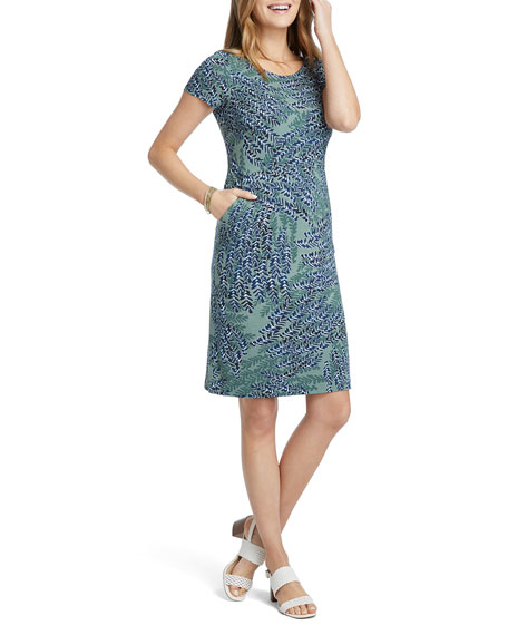 NIC+ZOE Petite Leaf Direction Short-Sleeve Dress