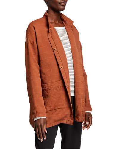 Organic Cotton Channel Stand Collar Button-Front Jacket
