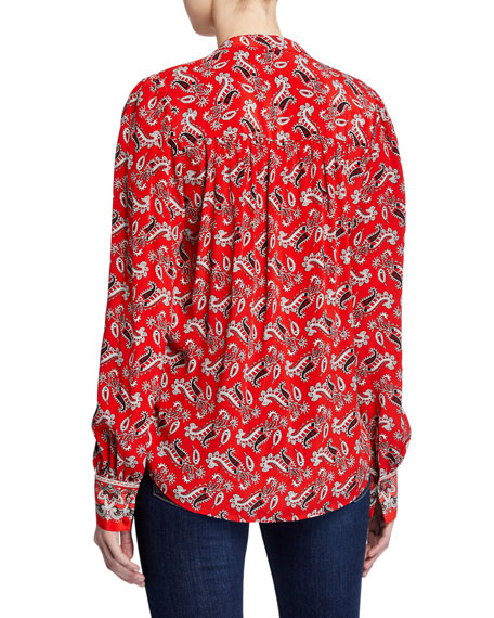 Veronica Beard Abbie Paisley-Print V-Neck Top