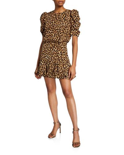 Lila Puff-Sleeve Leopard-Print Flounce Dress
