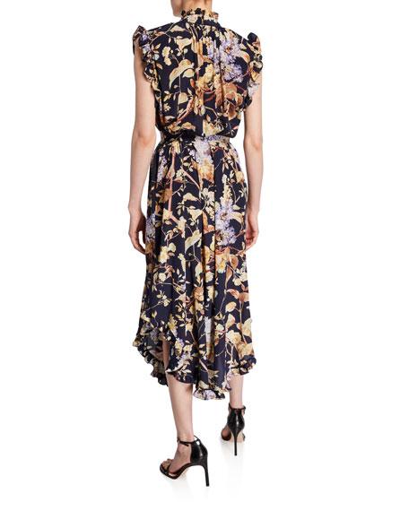 Zimmermann Sabotage Floral Self-Tie Midi Dress