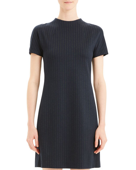 Image 2 of 5: Theory Pale Stripe Dolman-Sleeve Shift Dress