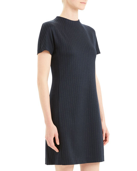 Image 3 of 5: Theory Pale Stripe Dolman-Sleeve Shift Dress