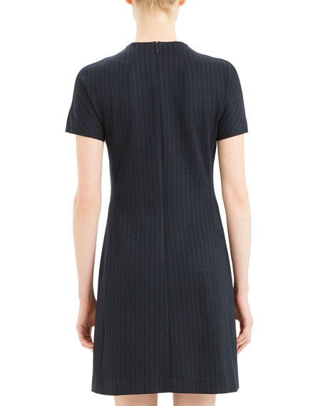 Image 4 of 5: Theory Pale Stripe Dolman-Sleeve Shift Dress