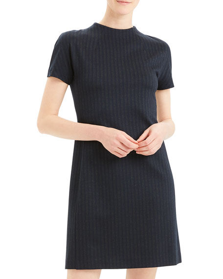 Image 1 of 5: Theory Pale Stripe Dolman-Sleeve Shift Dress