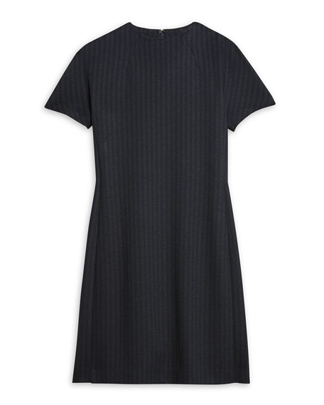 Image 5 of 5: Theory Pale Stripe Dolman-Sleeve Shift Dress