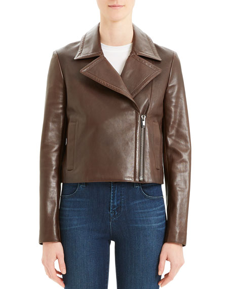 Image 2 of 5: Slim Napa Leather Moto Jacket