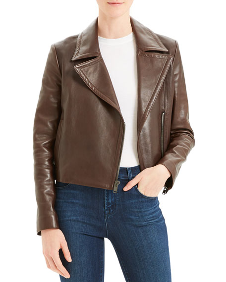 Image 1 of 5: Slim Napa Leather Moto Jacket