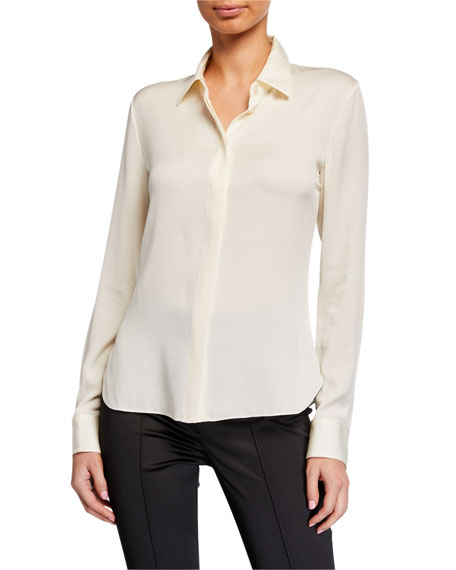 Theory Stretch Silk Classic Fitted Shirt
