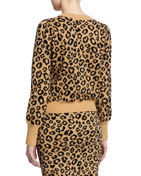 Veronica Beard Penny Leopard-Print Pullover Sweater