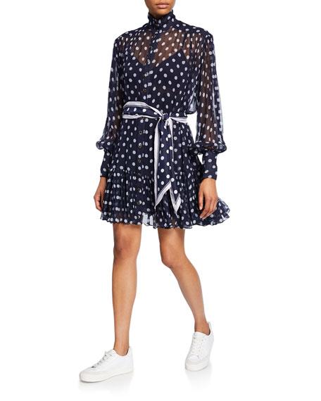 Zimmermann Sabotage Lantern Sheer Long-Sleeve Mini Dress