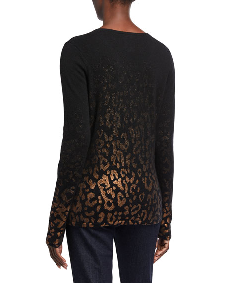 Neiman Marcus Cashmere Collection Metallic Leopard Cashmere V-Neck Sweater