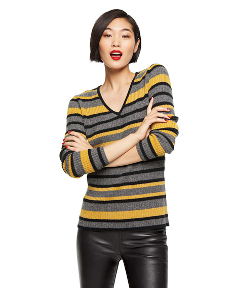 Image 2 of 3: Neiman Marcus Cashmere Collection Cashmere Metallic Striped V-Neck Rib Sweater